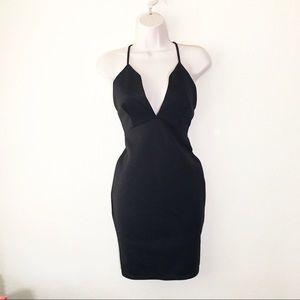 missguided Black Deep V Dress 8 Bodycon Open Back